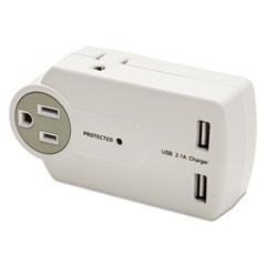 Travel Charger/Surge Protector with USB Ports, 3; 2 USB, 612 Joules, White