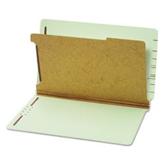 Pressboard End Tab Classification Folders, Four Sections, Legal, Green, 10/Box