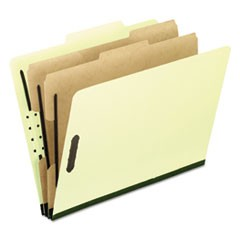 Six-Section Pressboard Folders, Letter, 2/5 Tab, Light Green, 10/Box