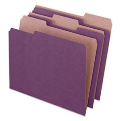 Earthwise by Pendaflex Recycled File Folders, 1/3 Top Tab, Ltr, Violet, 100/BX