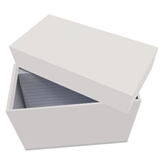 "Index Card Box with 100 Ruled Index Cards, 4"" x 6"", Gray"