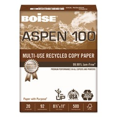 ASPEN 100% Multi-Use Recycled Paper, 92 Bright, 20lb, 8-1/2 x 11, White