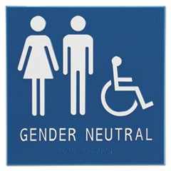 "Gender Neutral ADA Signs, 8"" x 8"", Man, Woman & Wheelchair"