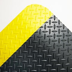 Industrial Deck Plate Anti-Fatigue Mat, Vinyl, 36 x 60, Black/Yellow Border