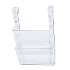 Three-Pocket File Partition Set with Brackets, Letter, Clear