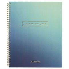 Aurora Day Weekly/Monthly Planners, 8 1/2 x 11, Blue Ombre, 2018, 12-Month