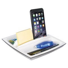 Desk Top Organizer and Tablet/Phone Holder, Plastic, 8 1/4 x 8 1/4 x 2 3/4
