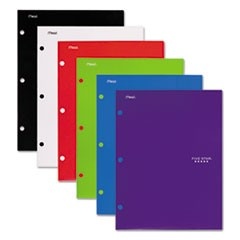 Four-Pocket Portfolio, 8 1/2 x 11, Assorted Colors, Traditional Design, 4/Pack