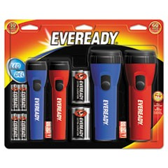 LED Economy Flashlight, AA/D, Black/Blue/Red