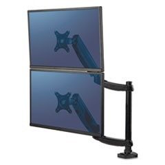 "Platinum Series Dual Stacking Monitor Arm, Up to 27""/22lbs., Clamp/Grommet,Black"