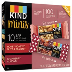Minis, Almond/Cranberry, Honey Roasted Nuts and Salt, 0.7 oz, 10 per pack