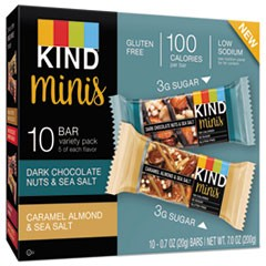 Minis, Almond and Sea Salt, Dark Chocolate Nuts, Sea Salt Caramel, 0.7 oz, 10/PK