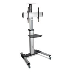 "Mobile Flat Panel Floor Stand, Floor, 32"" to 70"", up to 110 lbs., Black/Silver"