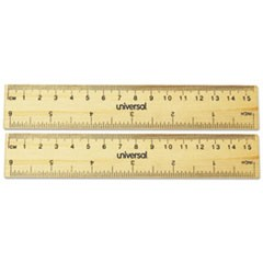 Flat Wood Ruler, Standard/Metric, 6""