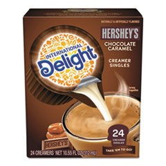 Flavored Liquid Non-Dairy Creamer, Hershey Chocolate Caramel, Mini Cups, 24/Box