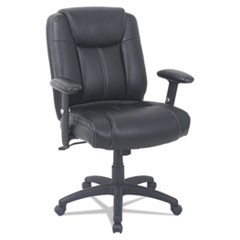 Alera CC Series Executive Mid-Back Leather Chair w/Adj Arms, Black