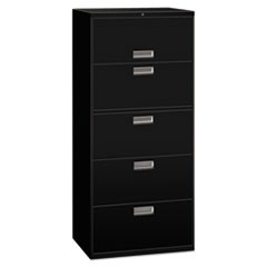 Lateral File, 5 Drawer, 36w x 19.25d x 67h, Black