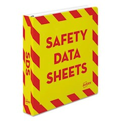 "Heavy-Duty Preprinted Safety Data Sheet Binder, 1 1/2""Cap, Yellow/Red"