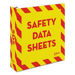 "Heavy-Duty Preprinted Safety Data Sheet Binder, 2"" Cap, Yellow/Red"