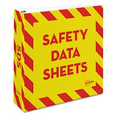 "Heavy-Duty Preprinted Safety Data Sheet Binder, 3"" Cap, Yellow/Red"