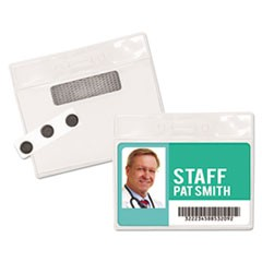 "Magnetic-Style Name Badge Kits, Horizontal, 4"" x 3"", Clear, 20/Pack"