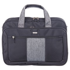 "Matt Executive Briefcase, 17"" x 5.5"" x 12.75"", Polyester, Black/Gray"