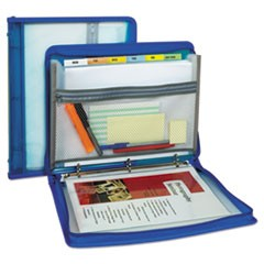 "Zippered Binder with Expanding File, 10.88"" x 1.5"", Bright Blue"
