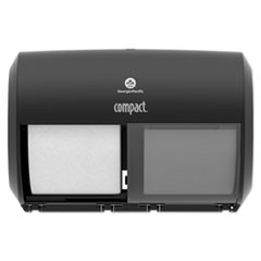 "Compact Coreless Side-by-Side Double Roll Tissue Dispenser, 11.5"" x 8"", Black"