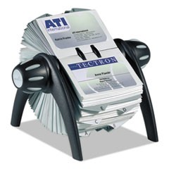 VISIFIX Flip Rotary Business Card File, Holds 400 4 1/8 x 2 7/8 Cards, Black/SR