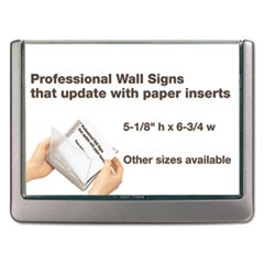 Click Sign Holder For Interior Walls, 6 3/4 x 5/8 x 5 1/8, Gray