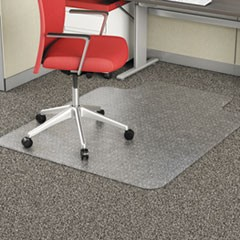 Occasional Use Studded Chair Mat for Flat Pile Carpet, 36 x 48, Lipped, Clear