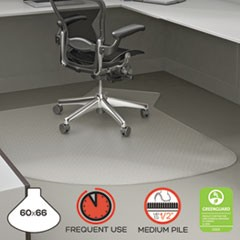 "SuperMat Frequent Use Chair Mat, 60"" x 66"", Medium Pile, Clear"