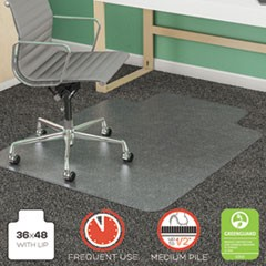 "SuperMat Frequent Use Chair Mat, Lip, 36"" x 48"", Medium Pile, Clear"
