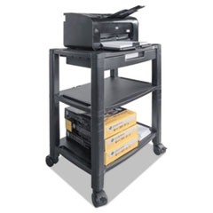 Mobile Printer Stand, Three-Shelf, 20w x 13 1/4d x 24 1/2h, Black