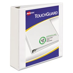 "TouchGuard Protection Heavy-Duty View Binders w/Slant Rings, 2"" Cap, White"
