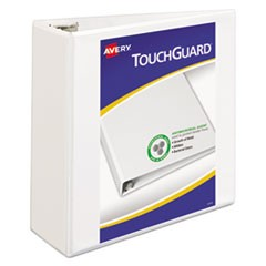 "TouchGuard Protection Heavy-Duty View Binders w/Slant Rings, 4"" Cap, White"