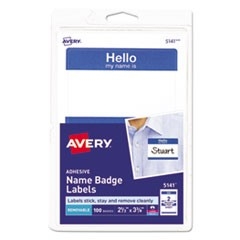 "Printable Adhesive Name Badges, 2 1/3 x 3 3/8, Blue ""Hello"", 100/Pack"
