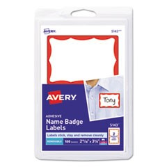 Printable Adhesive Name Badges, 2 1/3 x 3 3/8, Red Border, 100/Pack