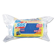 "All Surface Scrubber Sponge, 2 1/2 x 4 1/2, 0.9"" Thick, Blue, 3/Pack, 8 Packs/CT"