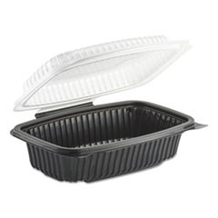 Culinary Classics Microwavable Container, 34 oz, Clear/Black, 100/Carton