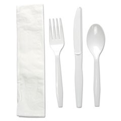 Four-Piece Cutlery Kit, Fork/Knife/Napkin/Teaspoon, White, 250/Carton