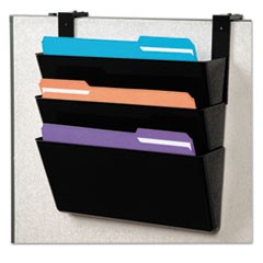 DocuPocket Three-Pocket Partition Set, Plastic, Letter, 13 x 4 x 7, Black