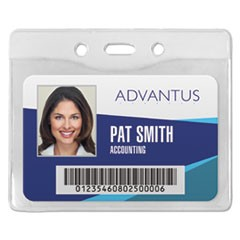 Security ID Badge Holder, Horizontal, 3 3/8w x 4 1/4h, Clear, 50/Box