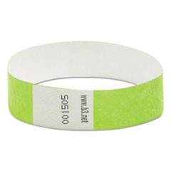"Wristpass Security Wristbands, 3/4"" x 10"", Green, 100/Pack"