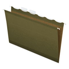 "Ready-Tab Hanging File Folders, 2"" Capacity, 1/5 Tab, Letter, Green, 20/Box"