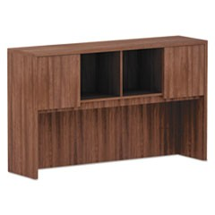 Alera Valencia Series Hutch, 3-Comp, 58 7/8 x 15 x 35 1/2, Mod Walnut