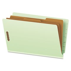 Pressboard End Tab Classification Folders, Six Sections, Legal, Green, 10/Box