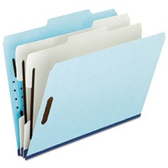 Four- and Six-Section Classification Folders, Legal, 2/5 Tab, Blue, 10/Box