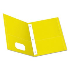 "Twin-Pocket Folders with 3 Fasteners, Letter, 1/2"" Capacity, Yellow, 25/Box"
