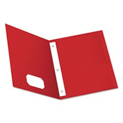 "Twin-Pocket Folders with 3 Fasteners, Letter, 1/2"" Capacity, Red, 25/Box"